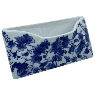 1980s Blue and White Porcelain Letter Holder With Ivy Motif For Sale
