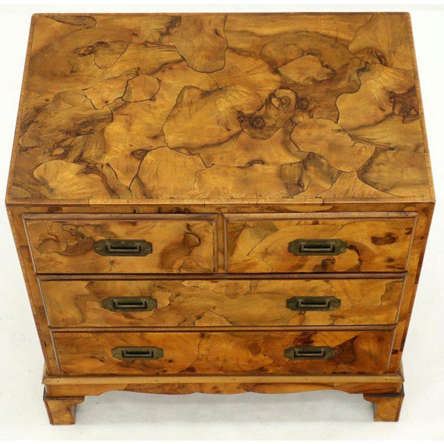 Wood Campaign Style Patch Burl Olive Wood Small Bachelor Chest Dresser Cabinet For Sale - Image 7 of 13