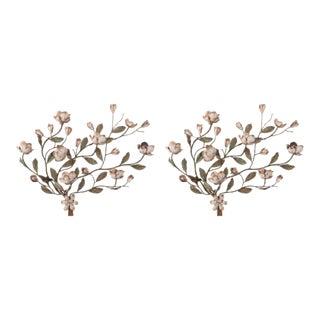 Italian Painted Tole Floral Sconces - a Pair For Sale