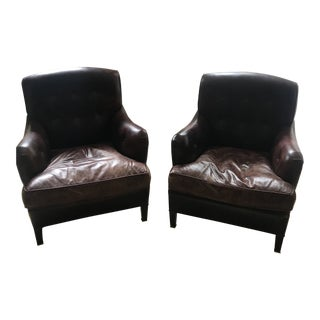 George Smith Leather Armchairs - A Pair