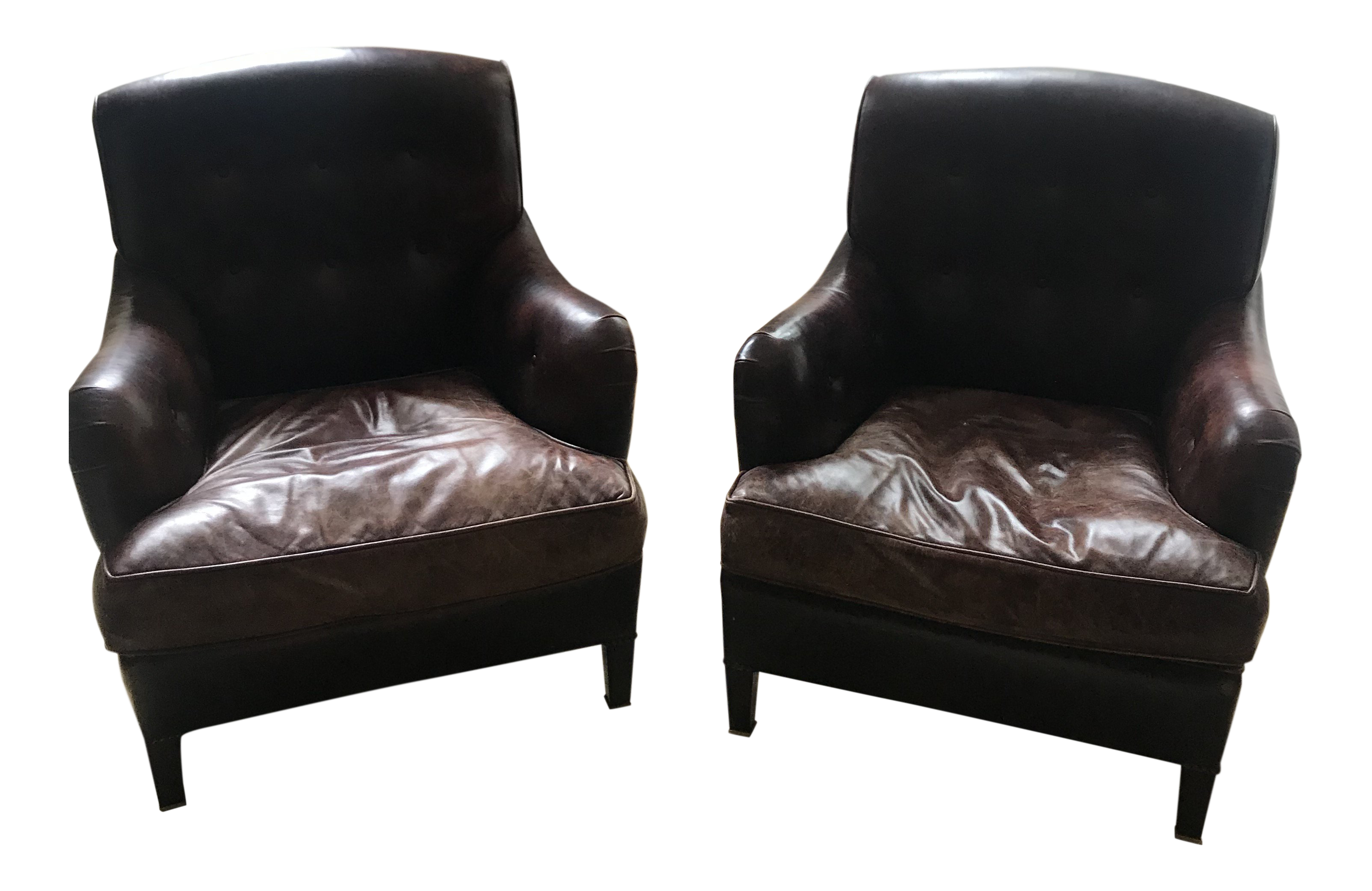 Charmant George Smith Leather Armchairs   A Pair