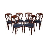 Image of Antique English Mahogany Victorian Set 6 Balloon Back Dining Chairs For Sale