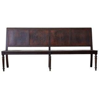 English Oak Bench Settle With Art Nouveau Panels For Sale