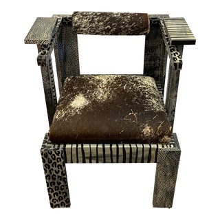 Artisan Made Painted and Cowhide Armchair For Sale
