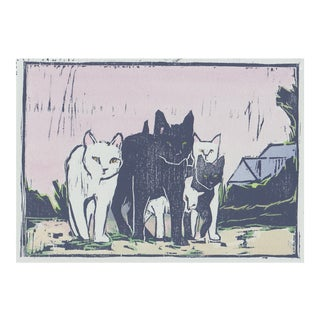 "Figurative Woodblock Print ""Alley Cats"" by Michelle Farro For Sale"