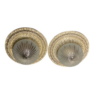 1920 Silver Plated Light Fixtures - A Pair For Sale