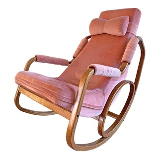Danish Modern Mid Century Bentwood Rocking Chair in Pink Velvet For Sale