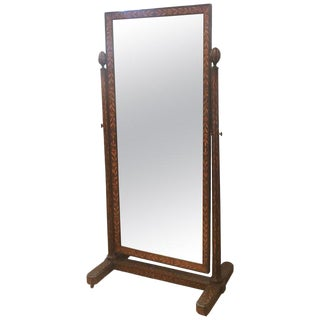 Antique Dutch Marquetry Cheval Dressing Mirror For Sale