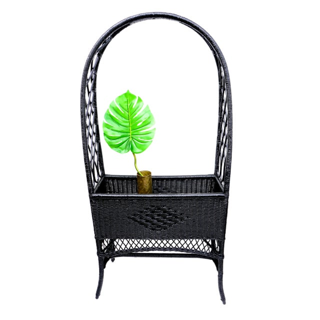 Rare and absolutely gorgeous antique arched top wicker plant stand/raised planter box with side trellis for climbing...