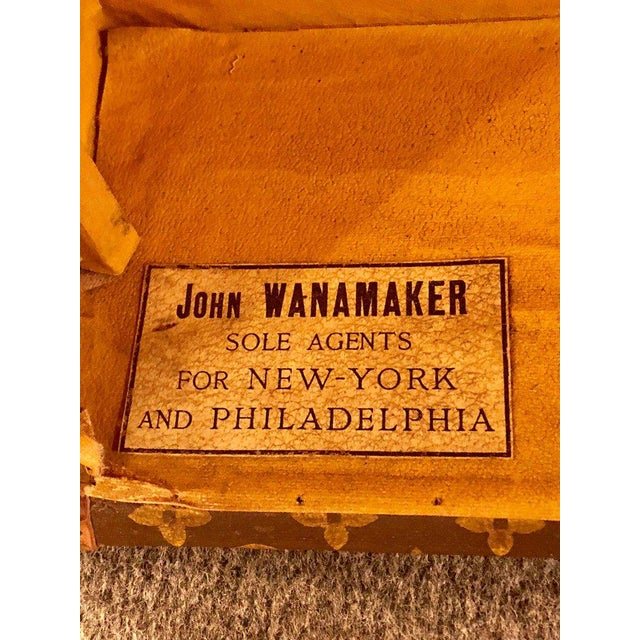 Louis Vuitton Trunk Steamer Wardrobe Trunk Interior Fitted John Wanamaker Label For Sale - Image 12 of 13