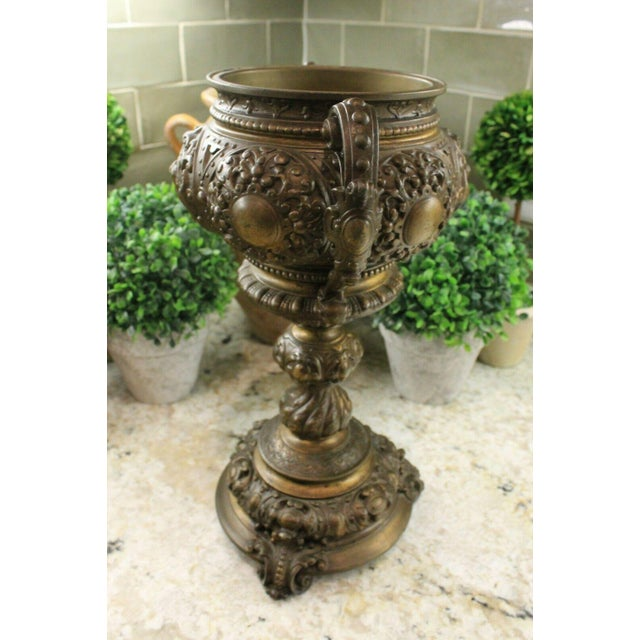 Metal Antique French Spelter Planters Urns Jardinieres Vases Renaissance - a Pair For Sale - Image 7 of 13