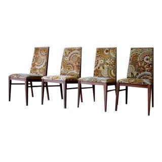 Mid Century Modern Walnut Dining Chairs Milo Baughman Dillingham, Set of 4 For Sale