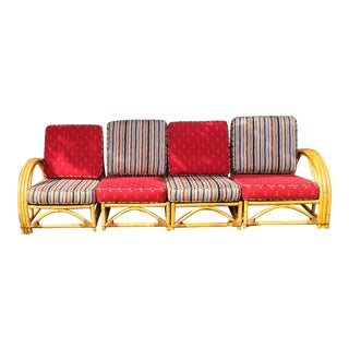Vintage Ficks Reed Rattan 4 Seat Swoop Arch Sectional Sofa For Sale