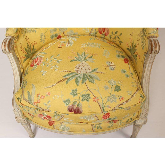 Antique Louis XVI Style Painted Bergere - Image 7 of 11