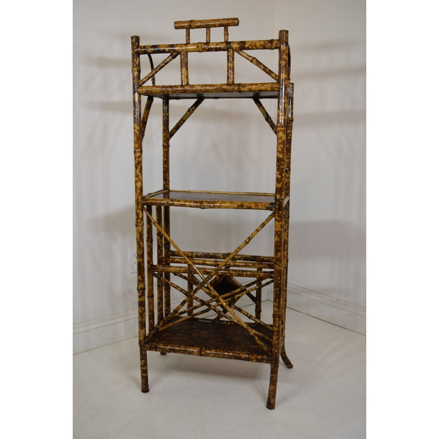 Metal 19th-Century Bamboo Book Shelf and Magazine Rack For Sale - Image 7 of 8