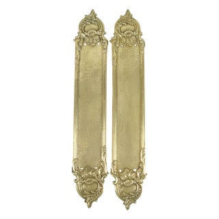 Brass Rococo-Style Door Push Plates - A Pair For Sale