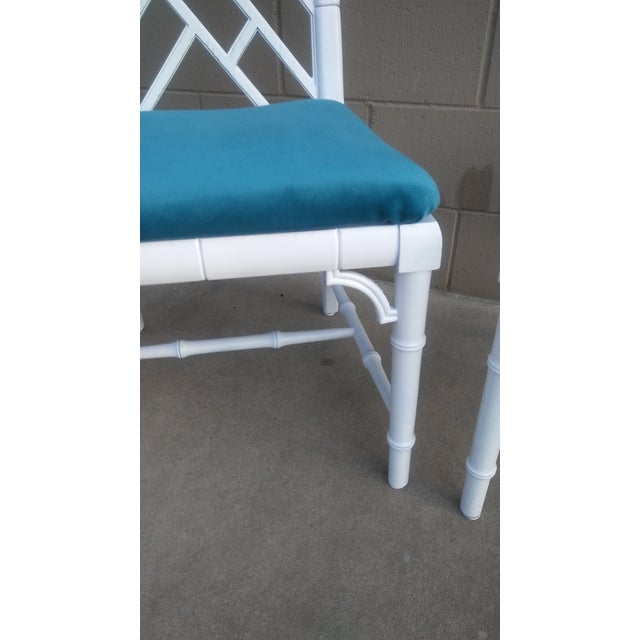 Century Chippendale White Faux Bamboo Chairs - a Pair - Image 9 of 10
