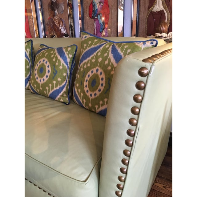 Green Vintage Lime Leather George Smith Knole Style Sofa For Sale - Image 8 of 11