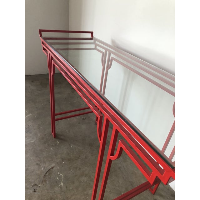 Early 21st Century Asian Red Laquer Console With Glass Top For Sale - Image 5 of 6