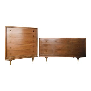 """1960s Mid Century Kent Coffee """"The Continental"""" Walnut and Brass Bedroom Set - a Pair For Sale"""