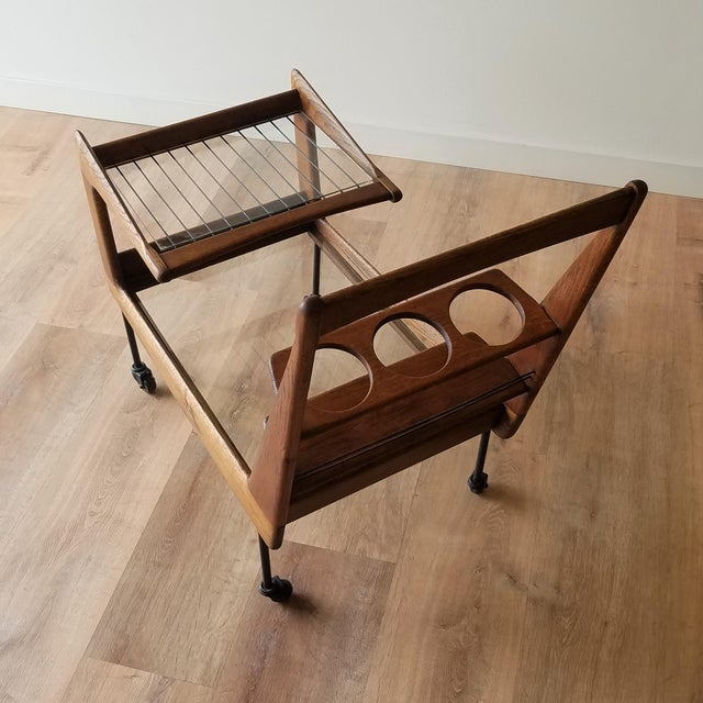 Mid 20th Century Italian Mid-Century Modern Bar Cart For Sale In Seattle - Image 6 of 13