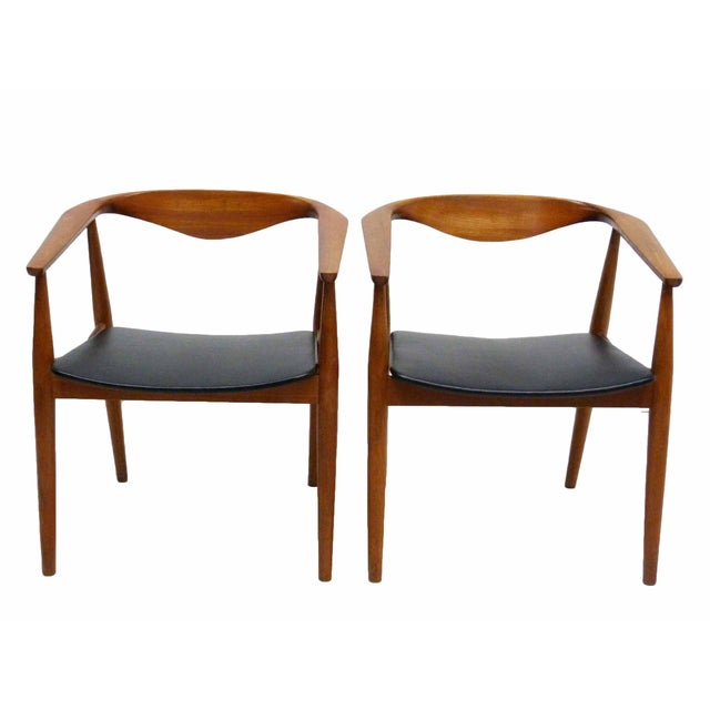 Danish Barrel Teak Armchairs - A Pair - Image 1 of 10
