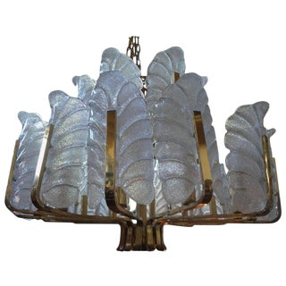 1960s Vintage Carl Fagerlund for Orrefors Brass & Glass Chandelier For Sale