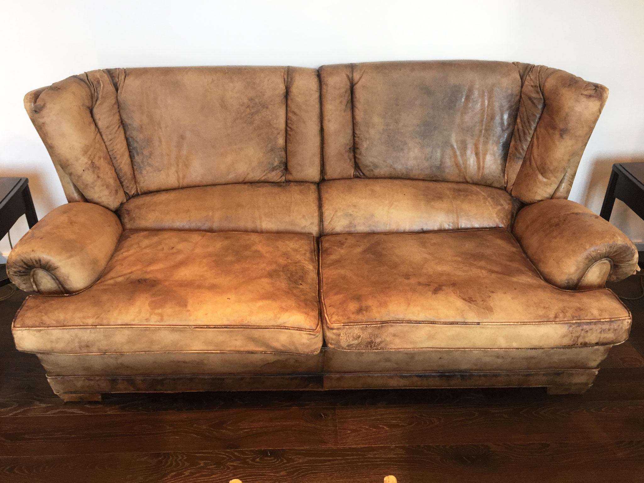 Rugged French Leather Settee From The 1950u0027s. This Comfortable Settee Has A  Handsome Aged Appeal