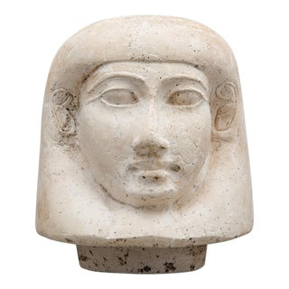 18th Dynasty Limestone Lid from a Canopic Jar Depicting Imsety For Sale