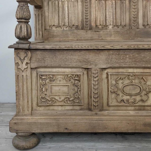 19th Century Italian Stripped Oak Hall Bench For Sale - Image 10 of 13