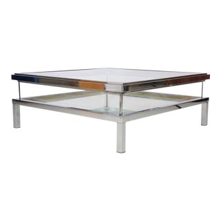 Maison Jansen Sliding Glass Top Table in Chrome For Sale