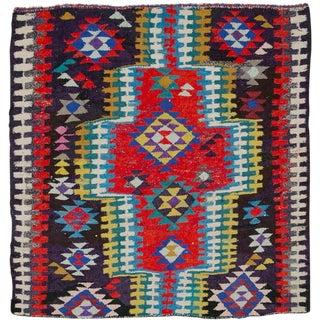 "Vintage Persian Flatweave Kilim Rug – Size: 5' 6"" X 5' 8"" For Sale"