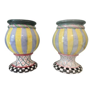 MacKenzie-Childs Hand Painted Taylor Urns - a Pair For Sale
