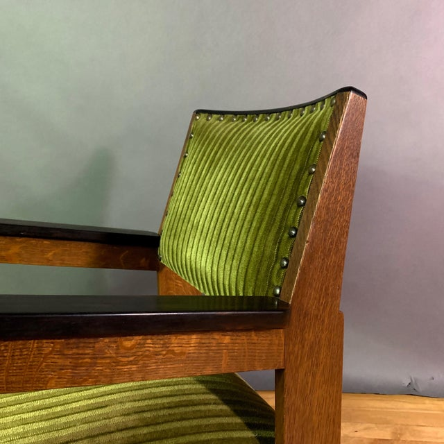 Green Pair 1940s Wenge Wood Armchairs, Corduroy & Rosewood For Sale - Image 8 of 11