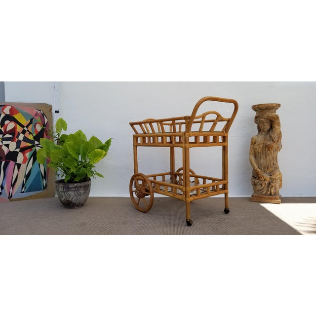 Vintage Boho Chic Rattan & Bamboo Rolling Bar Cart For Sale - Image 4 of 13