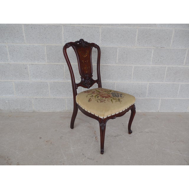 Vintage French Louis XV Style Carved Mother of Pearl Inlay Vanity Chair For Sale - Image 5 of 10