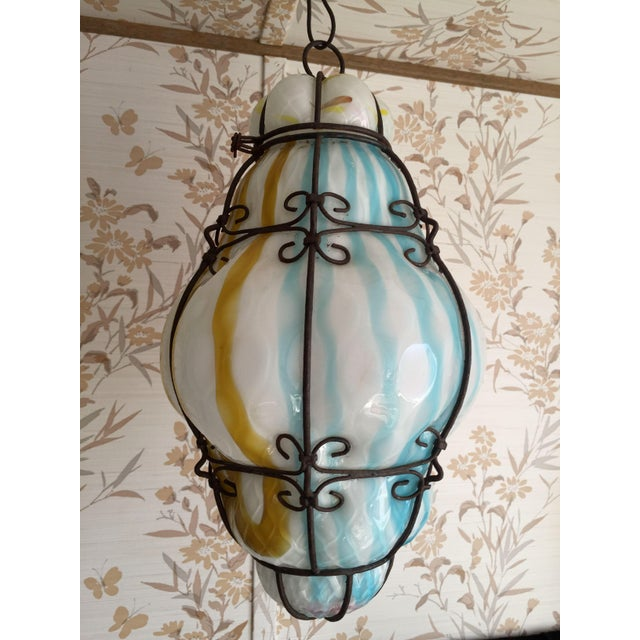 1960s Vintage Murano Caged Glass Pendant Lanterns in Pink and Turquoise For Sale - Image 9 of 12