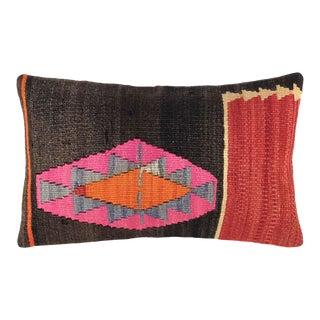 "Pop of Pink Vintage Kilim Pillow | 12 X 20"" For Sale"