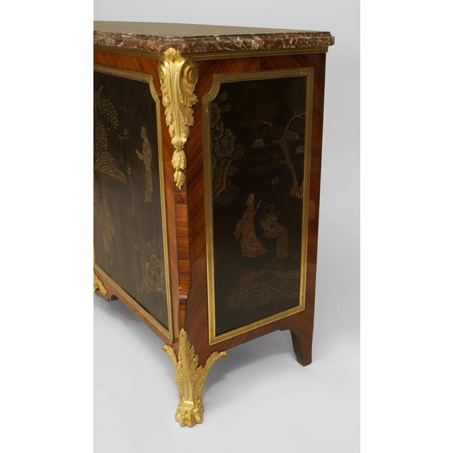 Nineteenth century French Louis XV/ Louis XVI transitional style commode signed by Decour. The gilt bronze-mounted, two-...
