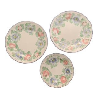 Italian Hand Painted Ceramic Plates - Set of 3 For Sale