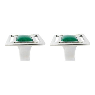Addison Weeks Evans Knob, Nickel & Malachite - a Pair For Sale