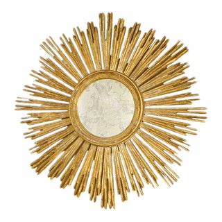 Italian Gilt Carved Starburst Mirror For Sale