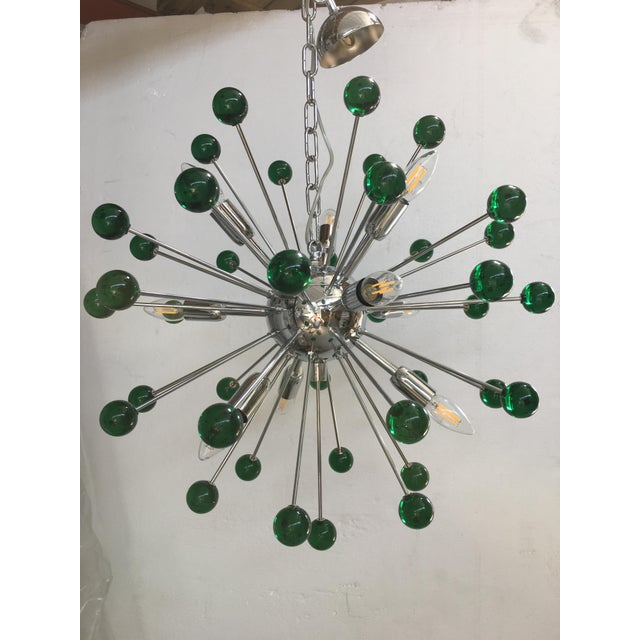 Emerald Green Murano Glass Chandelier in Sputnik Style With a Chrome Base For Sale - Image 11 of 11