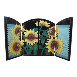 1990s 3 Panel Folding Sunflower Fireplace Screen For Sale