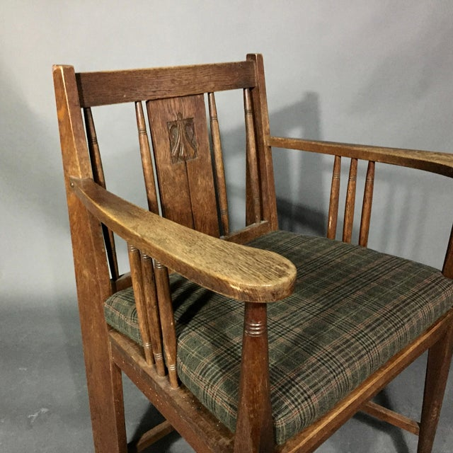 1910s Art Nouveau Carved Oak Side Chair, Germany 1910, Pair Available For Sale - Image 5 of 11