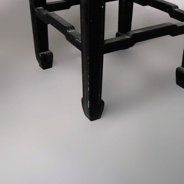 Vintage Black Lacquered Chinese Side Stands, 20th Century - Set of 4 For Sale - Image 11 of 13