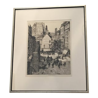 "Anderson, Stanley ""Within the Ramparts of St. Malo"" Signed Line Engraving Drawing For Sale"