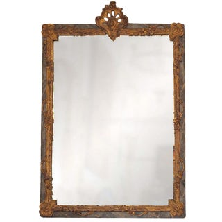 Louis XV Finely Carved Painted and Gilded Mirror For Sale