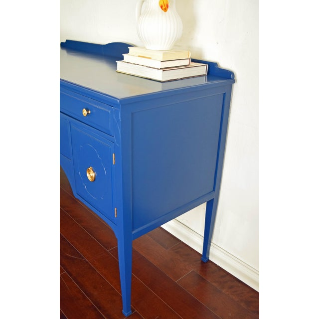 Antique Cherrywood Navy Blue Buffet For Sale - Image 4 of 12