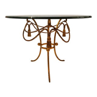 Gilt Gold Metal Accent Table, W/ Rope & Tassels, Mid-Century For Sale